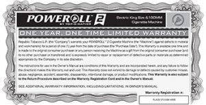 poweroll 2 electric cigarette rolling machine warranty card