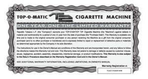 top-o-matic t2 cigarette rolling machine warranty card